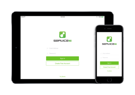 ServiceM8 Login Screen on iPad and iPhone