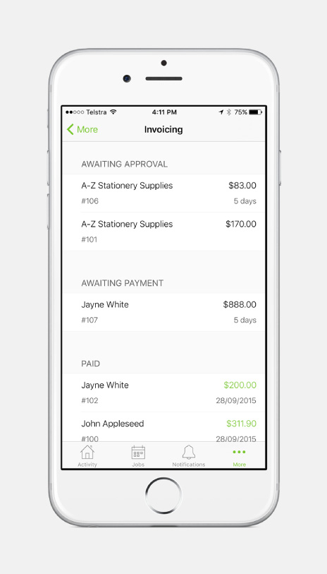 ServiceM8 Invoicing View